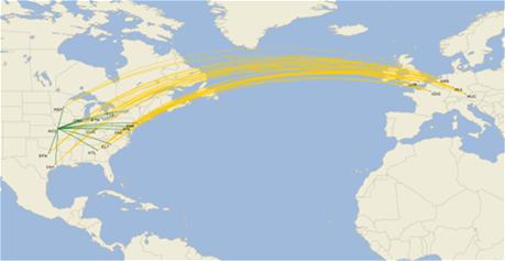 International Flight Map to Europe